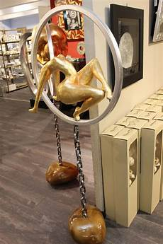 deko skulptur artistin silber gold modern 165 cm hoch