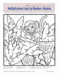 multiplication color by number printable worksheets free 16318 multiplication color by number monkey printable math worksheets