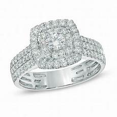 1 ct t w diamond double frame triple row engagement ring