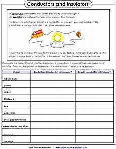 electricity worksheet conductors and insulators