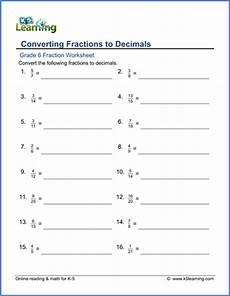 fraction worksheets grade 6 3935 grade 6 fractions vs decimals worksheets free printable k5 learning