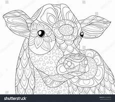 coloring page cow style stock vector 624968300