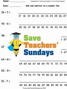 number line addition and subtraction ks1 worksheets