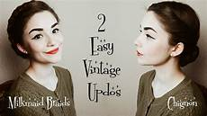 2 easy vintage hairstyles hair tutorial youtube
