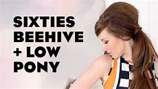 sixties 60 s beehive bouffant with a low ponytail youtube