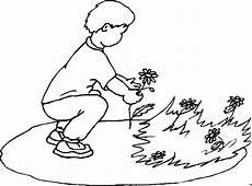junge pflueckt blume ausmalbild malvorlage kinder