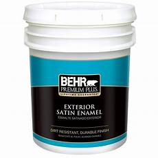 behr premium plus 5 gal medium base satin enamel exterior paint 940005 the home depot