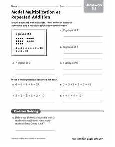 repeated addition worksheets grade 3 9194 model multiplication as repeated addition homework worksheet for 4th 5th grade lesson planet