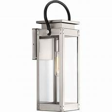progress lighting union square collection 1 light stainless steel 19 4 in outdoor wall lantern