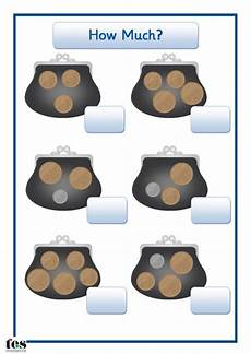 teaching money for ks1 2581 each purse contains coins pupils add up the amounts and write the answers in the boxes provided
