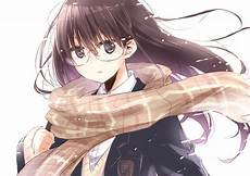 anime school girl with long brown hair anime original black eyes brown hair long hair glasses scarf school uniform girl wallpaper