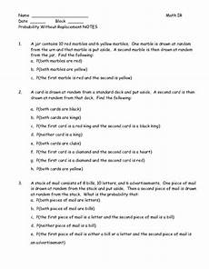 probability worksheets marbles 5837 probability without replacement worksheet for 7th 8th grade lesson planet