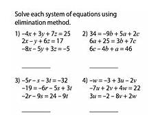 solving systems of equations worksheets with three variables