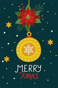 merry christmas poster with ball decorative and flowers vector free download