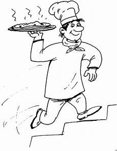 baecker mit pizza ausmalbild malvorlage essen und trinken