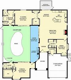 courtyard pool house plans plan 82034ka home plan with courtyard and guest cabana