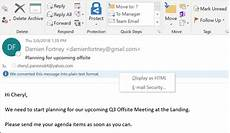 read email messages in plain text outlook