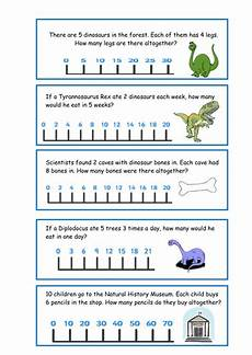 dinosaurs worksheets doc 15291 multiplication dinosaur word problems numberline by pinkclaire241 teaching resources tes