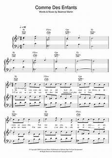 comme des enfants piano sheet music by coeur de pirate piano voice guitar rhm