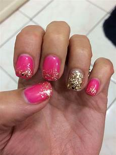 pink and gold glitter gel nails nail designs pinterest