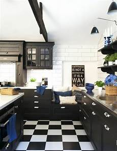 black and white kitchen floor black and white checkerboard