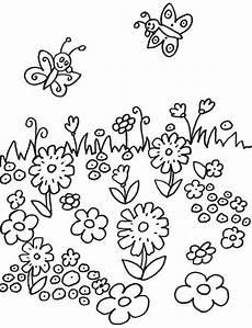 Ausmalbild Schmetterling Wiese Kostenlose Malvorlage Blumen Schmetterlinge Auf Der