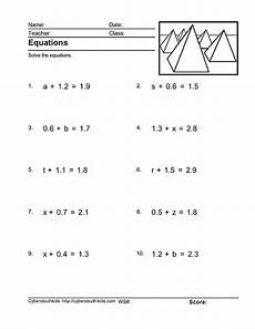 5th grade algebra variables worksheets 8626 equations isolating the variable with decimal numbers included worksheet for 4th 5th grade