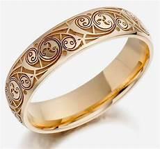 mens engraved wedding rings gold design