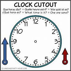 teaching time printable clock 3714 clock cutout for language learning high resolution by language house