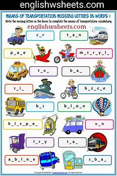 transportation worksheets esl 15184 means of transportation esl printable missing letters in words worksheet for means