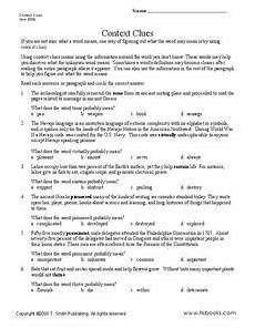 context clues paragraphs lesson plans worksheets