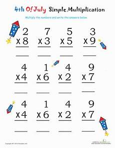 multiplication easy worksheets simple multiplication for 4th of july firecrackers worksheet education com