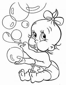 Gratis Malvorlagen Baby Baby With Ribbon Blowing Bubbles Coloring Page