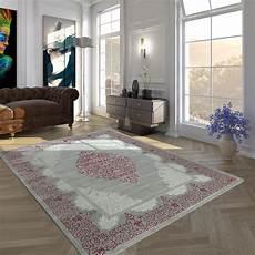 teppich rosa grau polyacryl teppich modern barock grau rosa teppichcenter24