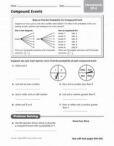 compound probability worksheets 7th grade 6017 compound events homework 20 6 worksheet for 6th 8th grade lesson planet