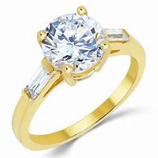 14k solid yellow gold cz cubic zirconia solitaire engagement ring 1 9 ct ebay