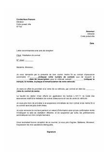 resiliation assurance auto vente exemple gratuit de lettre r 233 siliation contrat assurance