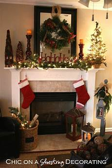Decorations For Mantels by Chic On A Shoestring Decorating Rustic Mantel