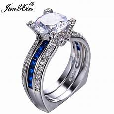 junxin gorgeous blue crystal ring vintage wedding rings for fashion white gold filled