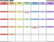 free printable calendar pages november 2020 month
