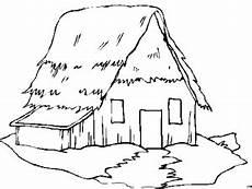 Gratis Malvorlagen Haus Einfaches Haus Mit Strohdach Ausmalbild Malvorlage