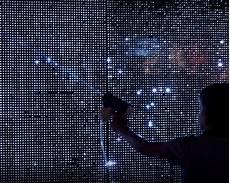 interactive water light graffiti wall installation by