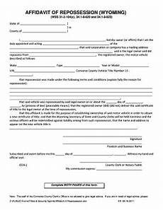 bill of sale form wyoming affidavit of repossession form templates fillable printable