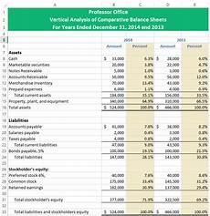 excel vertical analysis horizontal analysis