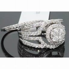 wholesale diamonds 10k white gold 1 66 carat womens real diamond engagement ring wedding band