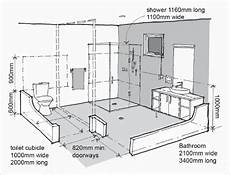 a diagram shows appropriate distances and heights of features in the bathroom of an adaptable