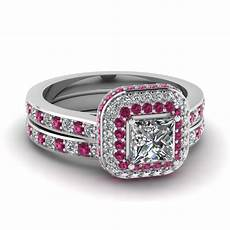 halo crown princess cut diamond wedding ring with pink sapphire in 18k white gold