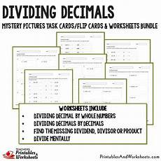 dividing decimals worksheet 7167 dividing decimals task cards and worksheets bundle printables worksheets
