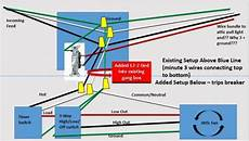 attic fan wiring addition of whole house attic fan timer and three way switches trips breaker doityourself