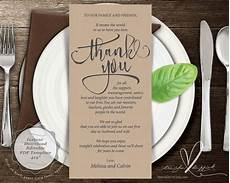 thank you place cards template wedding place setting thank you card instant